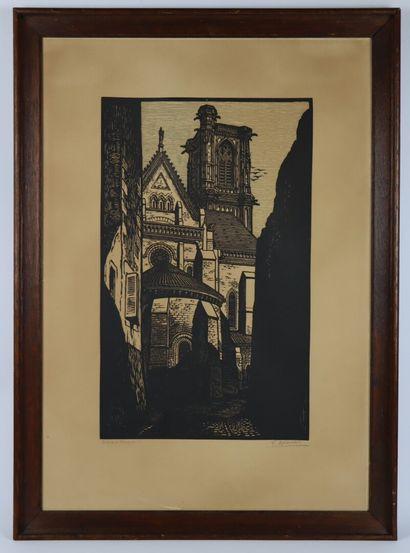 Fernand CHALANDRE (1879-1924).  Nevers, rue des jacobins, abside de Saint Cyr.  Bois...