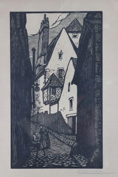 Fernand CHALANDRE (1879-1924).  Nevers, la rue Maubert.  Bois gravé.  Signé en bas...
