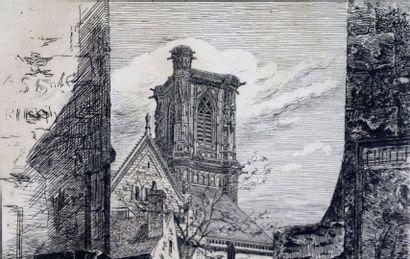 Fernand CHALANDRE (1879-1924).  Nevers, l'escalier des jacobins, 1909.  Eau-forte....