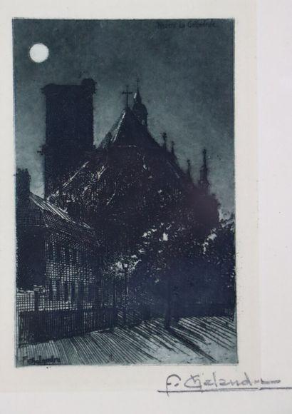 Fernand CHALANDRE (1879-1924).  Nevers, la cathédrale au clair de lune, 1904 ou...