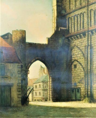 Jean ARNAVIELLE (1881-1961)  La Charité sur Loire.  Aquatinte, signée et tirée au...