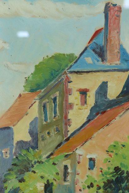 Hippolyte BOULE (1884-1974).  La ferme du Valeroy à Vailly.  Huile sur papier signée...