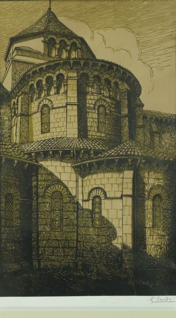 Georges TARDY (1885-1980).  Nevers, l'église...