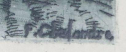 Fernand CHALANDRE (1879-1924).  Nevers, rue de la Raie (Raye) au clair de lune,...