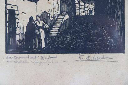 Fernand CHALANDRE (1879-1924).  Nevers, rue des Jacobins, 1922.  Bois gravé.  Signé...