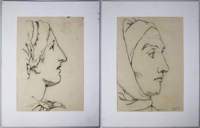 REX BARRAT (1914-1974).  Deux profils à l'antique....
