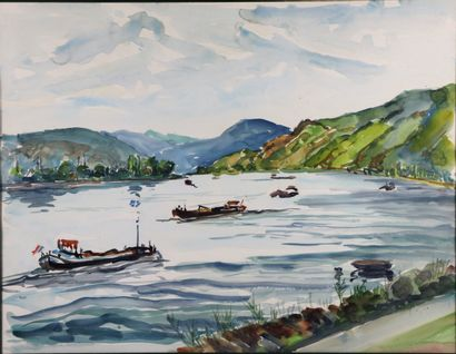 Georges PRESTAT (1911-1994).  Le Rhin à Boppard,...