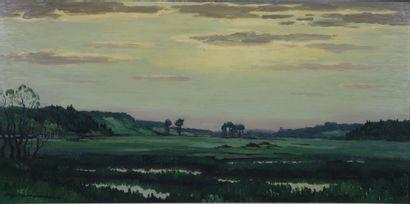 REX BARRAT (1914-1974).  Le marais à Andryes....