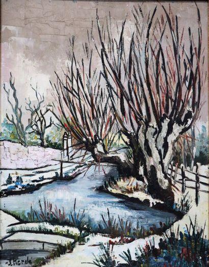 Jean KORDE (1921-2018).  Paysage au ruisseau....