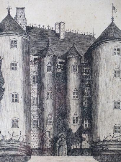 Jacques-Paul BESSON-DANDRIEUX (1870-1948).  Le château de Chevenon, Nièvre.  Dessin...