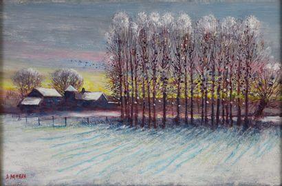 Antoine PANEDA (1929).  Soir de neige.  Huile...