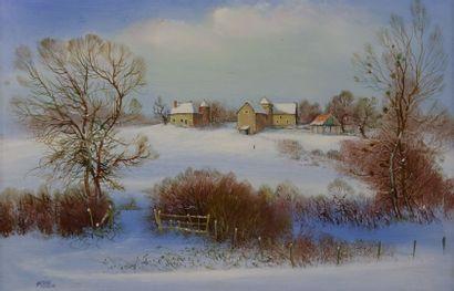 Antoine PANEDA (1929).  La ferme enneigée....