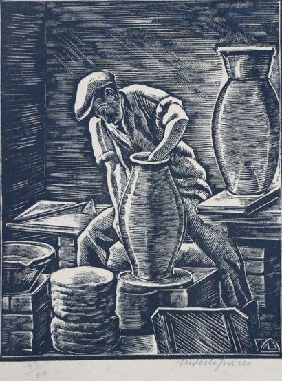 André DESLIGNERES (1880-1968).  Le potier....