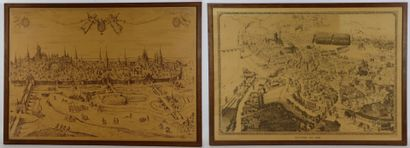 Nevers en 1850 et Nevers en 1566.  Paire...