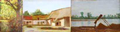 Henri DIF (1864-1929).  Etudes de paysages,...