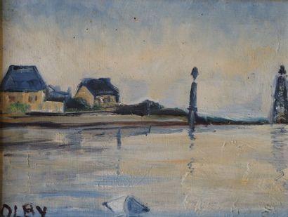 Olga OLBY (1900-1990).  Le pont.  Huile sur...