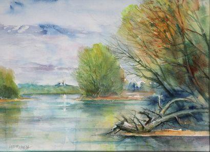 Antoine PANEDA (1929).  Nevers au loin.  Aquarelle....