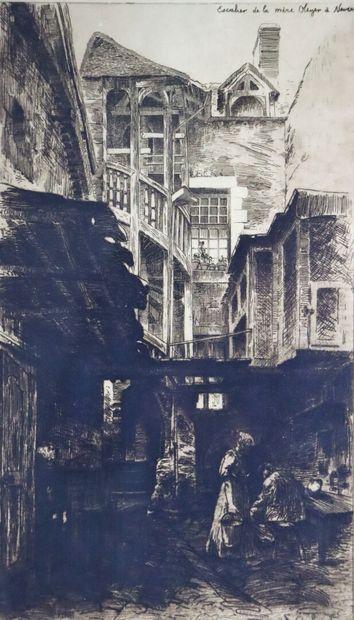 Fernand CHALANDRE (1879-1924).  Nevers, l'escalier...