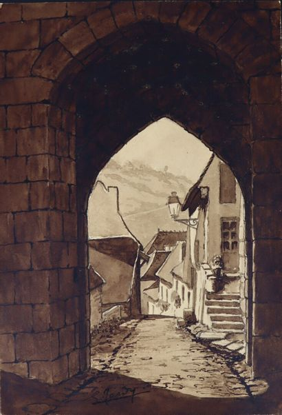 Georges TARDY (1885-1980).  Rocamadour.  Dessin...