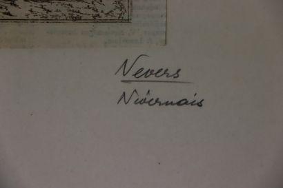 NEVERS.  Noviodunum in ducatus nivernie. sifa est.  Plan gravé sur bois, en noir....
