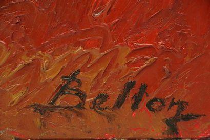 Pierre BELLON (1930-2009).  Foule et dromadaire à l'entrée du village.  Huile sur...