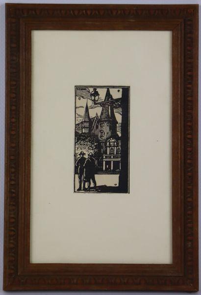 Fernand CHALANDRE (1879-1924).  Nevers, le petit théâtre et le Palais Ducal.  Gravure...