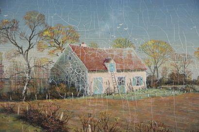 Michel BESZIE (né en 1940).  Maison en nivernais.  Tempera sur panneau, signée en...