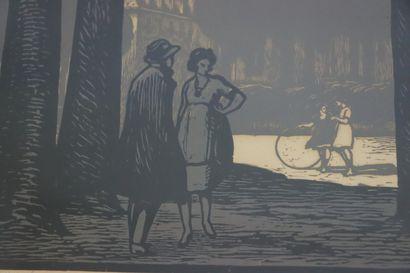 Fernand CHALANDRE (1879-1924).  Nevers, l'esplanade du Palais Ducal et la tour Saint...