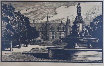 Fernand CHALANDRE (1879-1924).  Nevers, le Palais Ducal et la Place de la République....