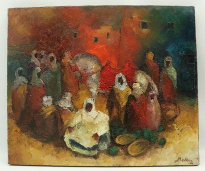 Pierre BELLON (1930-2009).  Rassemblement.  Huile sur toile.  Signée en bas à droite,...