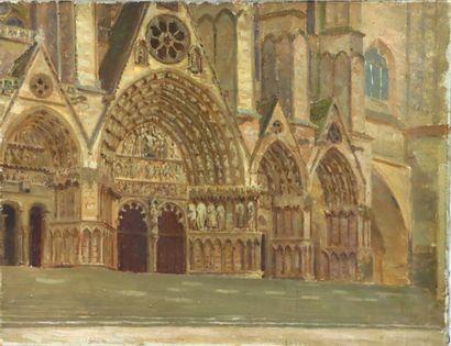 Henri DIF (1864-1929).  Vue du portail de...