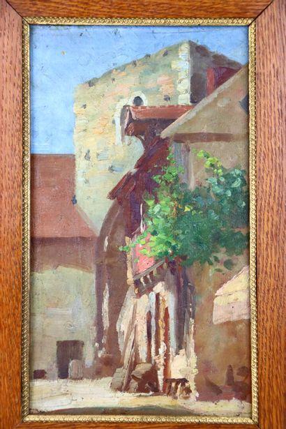 Henri DIF (1864-1929).  Parvis d'une église...