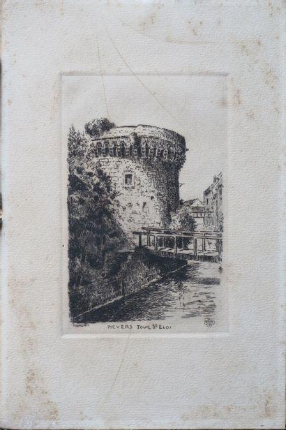 BOURGEOIS.  Suite de trois gravures figurant Nevers, la Tour St Eloi, l'Eglise de...
