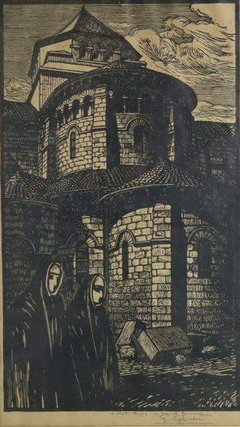 Fernand CHALANDRE (1879-1924).  Nevers, l'abside...