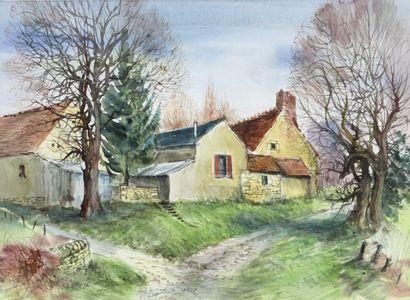 Antoine PANEDA (1929).  Hameau à Urzy.  Aquarelle....