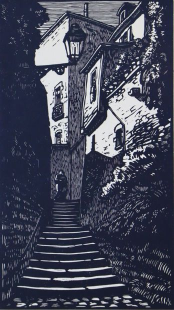 Fernand CHALANDRE (1879-1924).  L'escalier...
