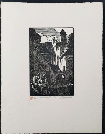 Fernand CHALANDRE (1879-1924).  Nevers, la rue Saint Vincent, 1920.  Bois gravé....