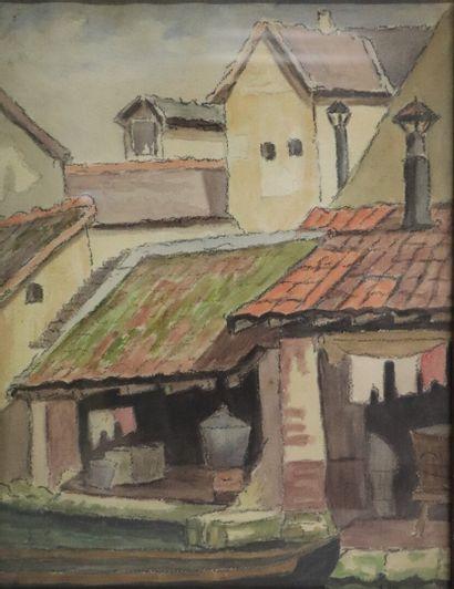 MIREVAL (actif au XXème siècle).  Le lavoir....