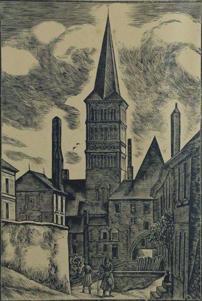 André DESLIGNERES (1880-1968).  La Charité...