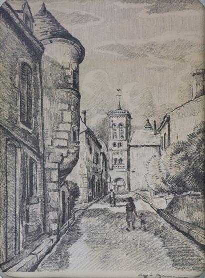 REX BARRAT (1914-1974).  La montée vers l'église....