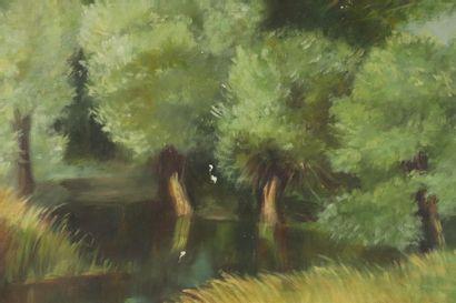 Paul-Adrien BOUROUX (1878-1967), attribué à.  Paysage arboré de la campagne nivernaise....