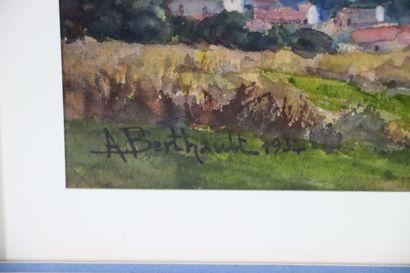 Auguste BERTHAULT (1862-1942).  Vue de Nevers depuis les hauteurs de Marzy.  Aquarelle...