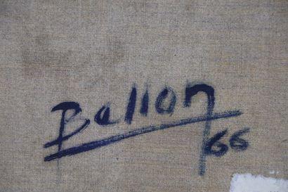 Pierre BELLON (1930-2009).  Vache et charrue.  Huile sur toile, signée en bas à...