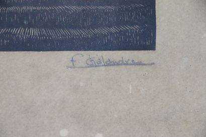 Fernand CHALANDRE (1879-1924).  Nevers, rue de la cathédrale, 1920.  Bois gravé....