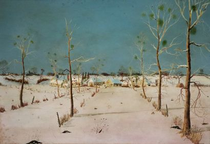 Michel BESZIE (né en 1940).  Paysage d'hiver en nivernais.  Huile sur panneau, signée...