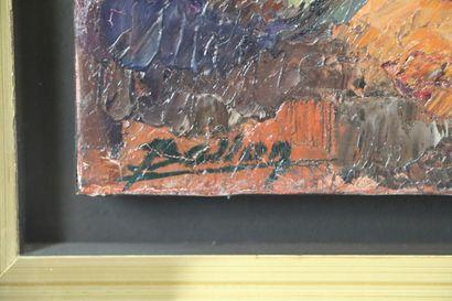 Pierre BELLON (1930-2009).  La charrette.  Huile sur panneau, signée en bas à gauche,...
