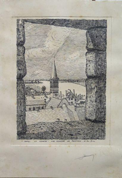 André CARROY (1910-1975).  La Charité, une échappée des remparts, le 20-8-40.  Gravure...