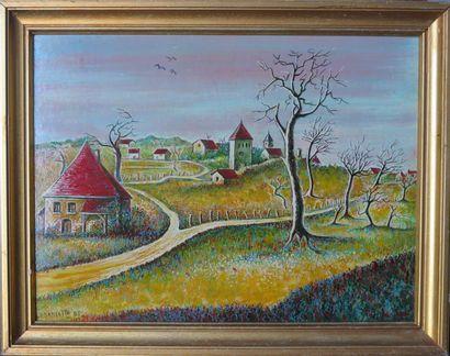 Pierre DANCETTE (1928-2010).  Château en...