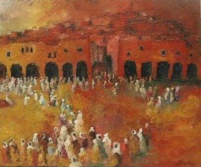 Pierre BELLON (1930-2009).  Ghardaïa, foule....