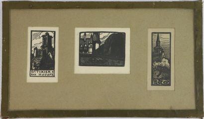Fernand CHALANDRE (1879-1924).  Trois ex-libris,...